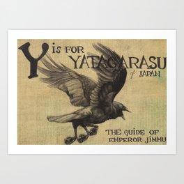 Alphabestiary Y - Yatagarasu Art Print