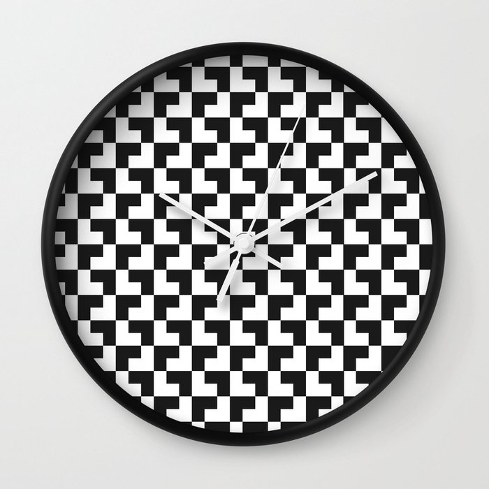 Black and White Tessellation Pattern - Graphic Design Wall Clock