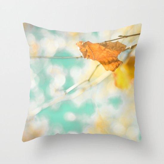 Gold Autumn Fall Leafs on Dreamy Blue Turquoise Vintage Retro Sky  Throw Pillow