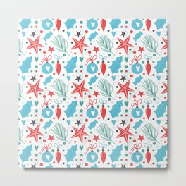 Lovely Christmas Pattern Metal Print