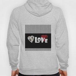 Valentine's day . Love. Black and white striped background . Hoody