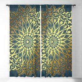 Blue Golden Mandala Blackout Curtain