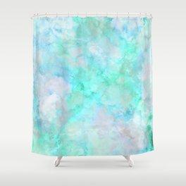 Irridescent Aqua Marble Shower Curtain