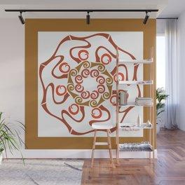 Hope Flower Mandala - Brown White Framed Wall Mural