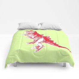 Dino Pop Art - T-Rex - Lime & Red Comforters