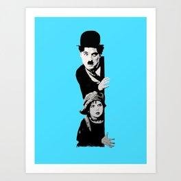 Chaplin and the kid - turquoise Art Print
