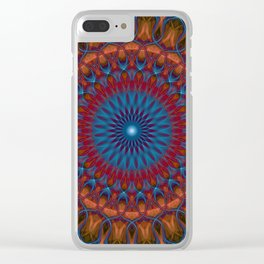 Glowing orange and blue mandala Clear iPhone Case