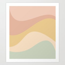 Abstract Color Waves - Neutral Pastel Art Print