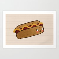 hot dog Art Prints featuring Hot Dog by Tuesday Logan