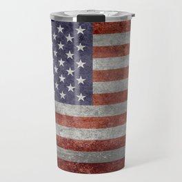 Flag of the United States of America in Retro Grunge Travel Mug