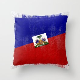 Haitian Distressed Halftone Denim Flag Throw Pillow