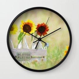 Country life sunflower idyll Wall Clock