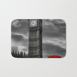 London - Big Ben with Red Bus bw red Bath Mat