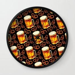 Beer & Pretzel Pattern - Black Wall Clock