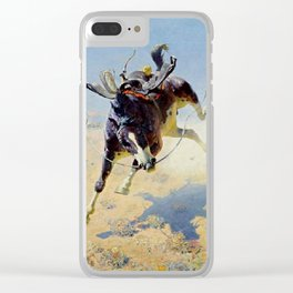 """William Leigh Western Art """"A Fighting Cyclone"""" Clear iPhone Case"""