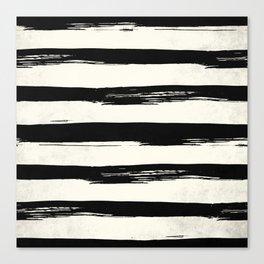 Tribal Paint Stripes Black and Cream Canvas Print