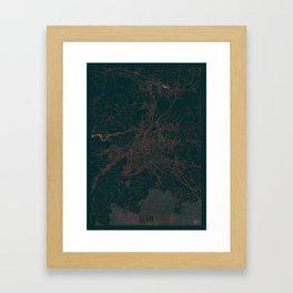 Bern Map Red Framed Art Print
