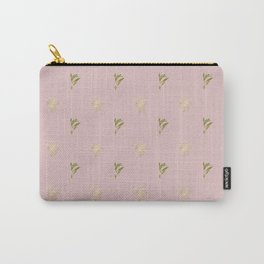 Modern blush pink green yellow gold floral leaves Carry-All Pouch