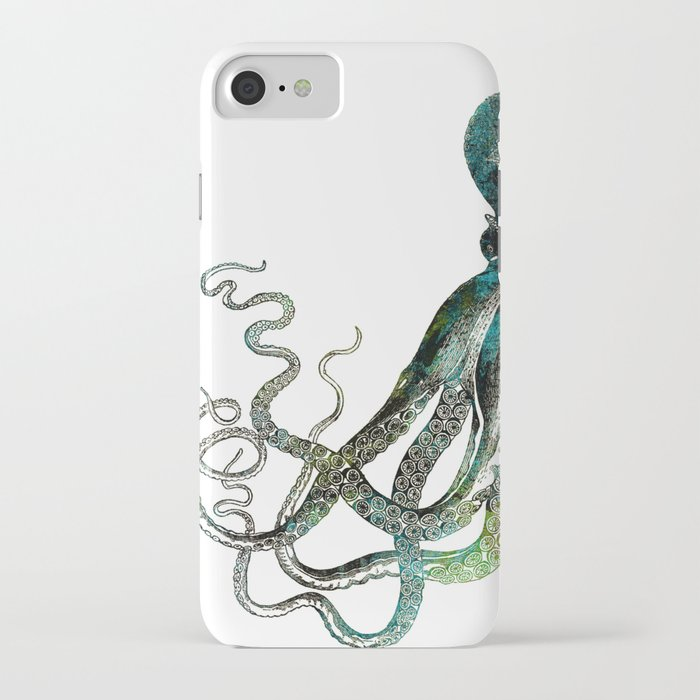 Octopus marine life watercolor art iPhone Case