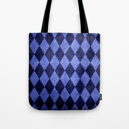 Blue Harlequin Grunge Tote Bag