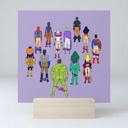 Superhero Butts - Power Couple on Violet Mini Art Print