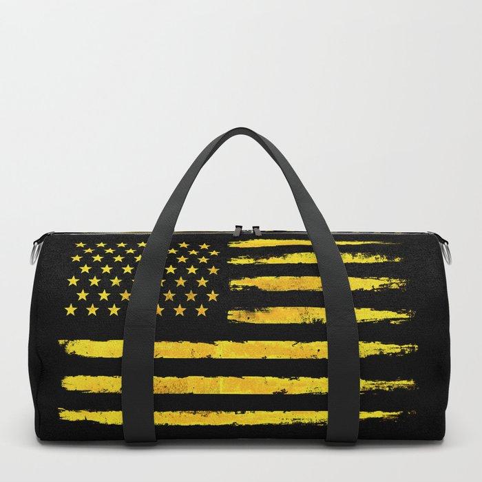 Gold grunge american flag Duffle Bag