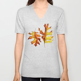 Ink And Watercolor Painted Dancing Autumn Leaves Unisex V-Neck