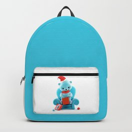 Teddy Bear With Christmas Box on White Backpack