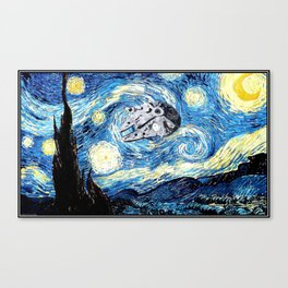 Falcon flies the Starry Night Canvas Print
