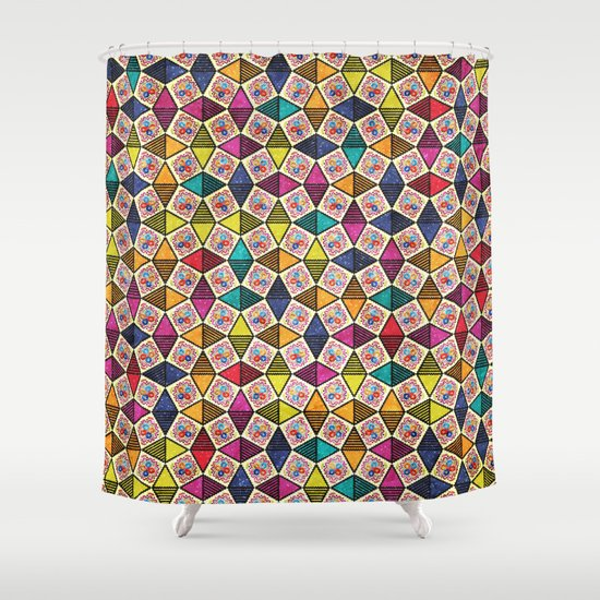 Colorful kaleidoscopic abstract flower pattern shower Colorful shower curtains