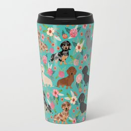 Dachshund florals flower pet portrait dog art dachsie doxie pet art dog breeds Travel Mug
