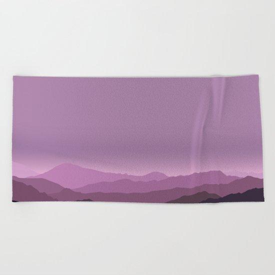 Purple mountains Beach Towel
