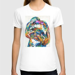 Colorful Shih Tzu Dog Art By Sharon Cummings T-shirt
