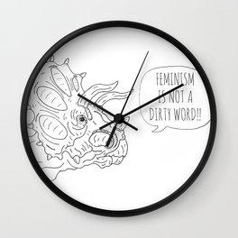 Feminist Triceratops Wall Clock