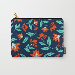 Japanese Floral Print - Red and Navy Blue Carry-All Pouch