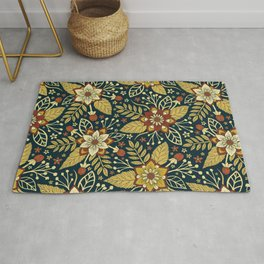 Gold, Rust, Cream & Dark Navy Blue Floral Pattern Rug