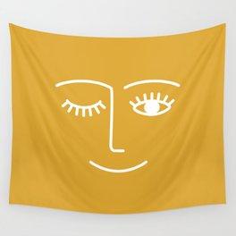 wink / mustard Wall Tapestry