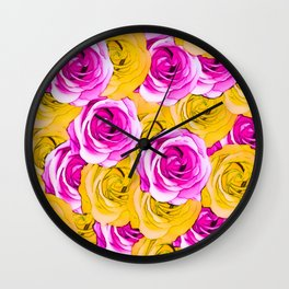 pink rose and yellow rose pattern abstract background Wall Clock