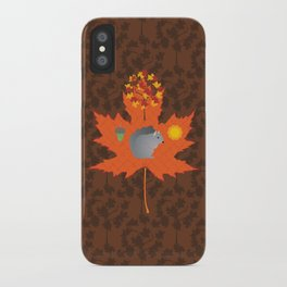Grey Squirrel Autumn Pattern iPhone Case