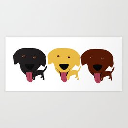Labrador dogs black yellow chocolate 2 Art Print
