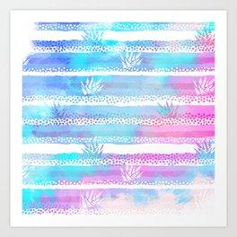 Nautical pink teal aqua watercolor coral stripes pattern Art Print