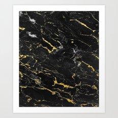 Gold Flecked Black Marble Art Print