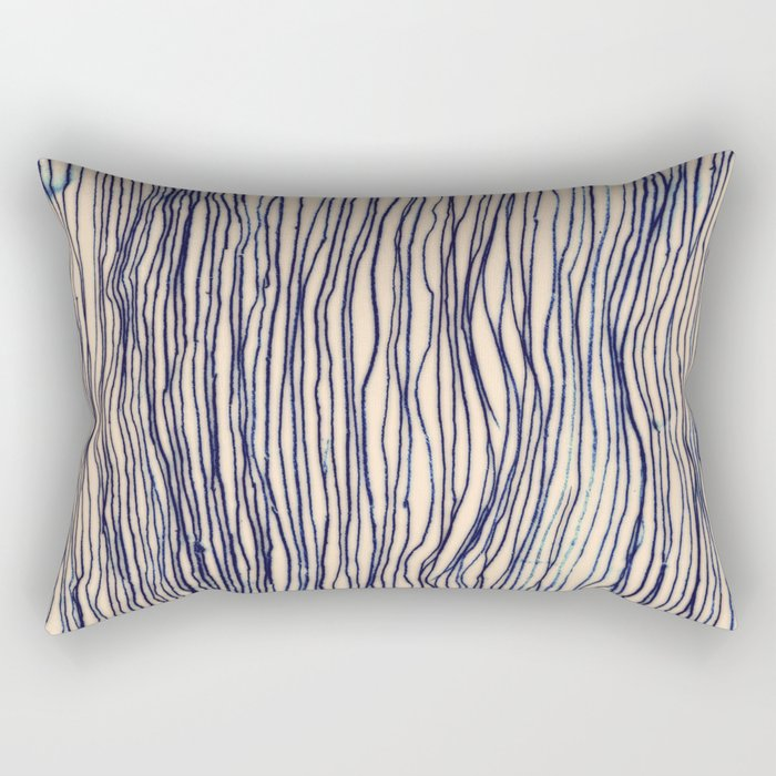 Writer's Block - wavy indigo / navy lines Rectangular Pillow