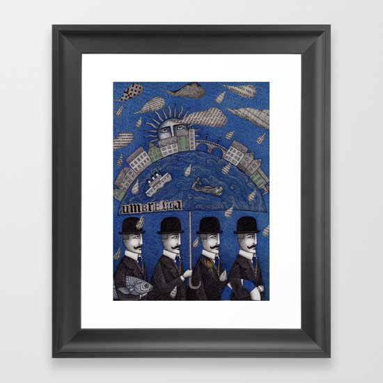 Four Men Waiting Framed Art Print