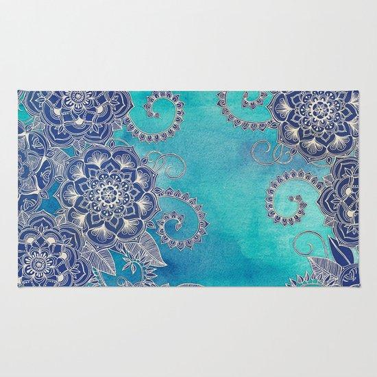 Mermaid S Garden Navy Amp Teal Floral On Watercolor Rug By