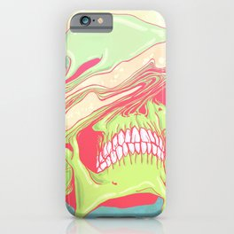 Liquify candy colored skull illustration  iPhone Case