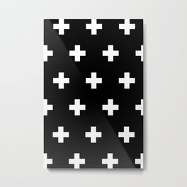 Cross Pattern Black and White Metal Print