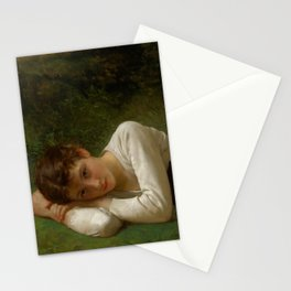 """William-Adolphe Bouguereau """"Le Repos (Jeune Fille Couchée)(Young Girl Lying Down)"""" Stationery Cards"""