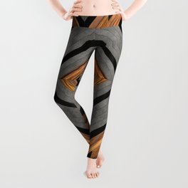 Urban Tribal Pattern 2 - Concrete and Wood Leggings