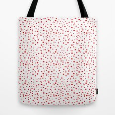 PolkaDots-Red on White Tote Bag